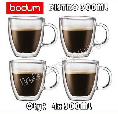 IN BOX BODUM BISTRO DOUBLE WALL CLEAR THERMO-GLASS MUGS FOR COFFEE TEA x4 300ML