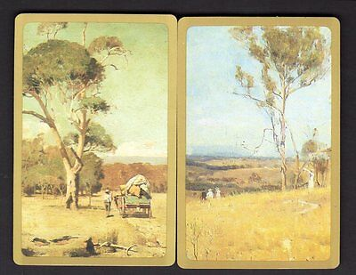 Vintage Swap/Playing Cards - Outback Scenes Pair (Gold Borders)