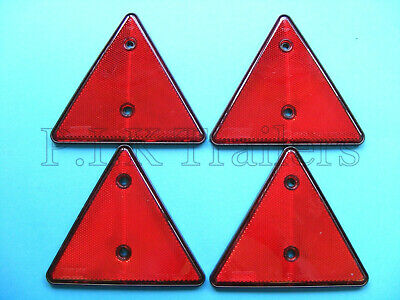 FREE P&P* 4 x Red Triangle Reflectors for Driveway Gate Fence Posts & Trailers