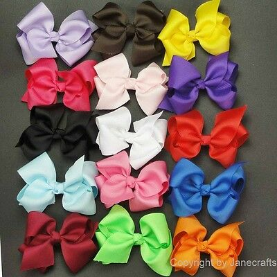 "15pc 3.5"" Boutique Hair Bows Girls Baby Alligator Clip Grosgrain Ribbon Headband"