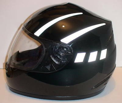 Reflective helmet stickers  7 colours available INCLUDING BLACK (reflects White)