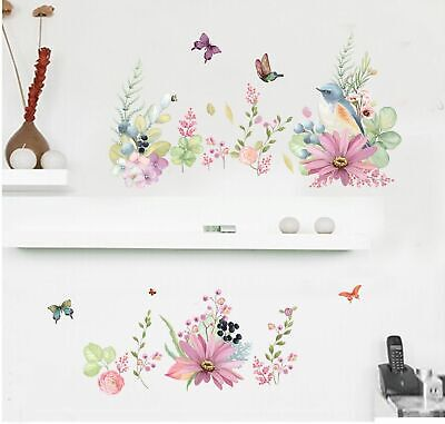 Flower Birds Butterflies Removable Kids Baby Wall Decal Vinyl Stickers Art Decor
