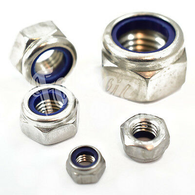 "Unf 1/4"" 5/16"" 3/8"" 1/2"" 5/8"" A2 Stainless Steel Nyloc Nylon Insert Locking Nuts"