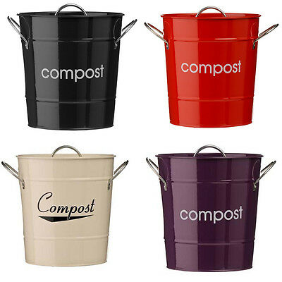 Compost Bin Waste Bucket With Plastic Inner Black Cream Purple Or Red Brand New