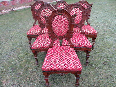 unusual set of 6 Victorian carved Walnut balloon back dining chairs (ref 1300)