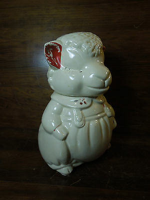 Vintage American Bisque Painted Lamb / Sheep Cookie Jar
