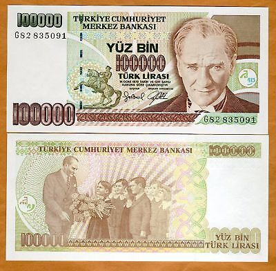 Turkey, 100,000 (100000) Lira, L. 1970 (1997) P-206, UNC