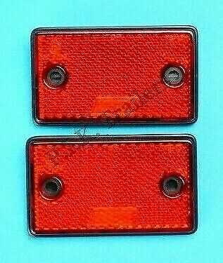 2 x RED Rear Reflectors Screw-on / Self Adhesive 75mm x 46mm  - Trailer Horsebox