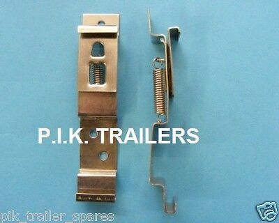 2 x Oblong Number Plate Spring Bracket Clips for trailers horseboxes