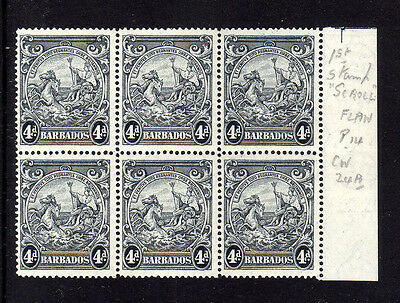 BARBADOS 1938-47 4d CURVED LINE AT TOP RIGHT SG 253db & CW 24c MINT/ MNH.