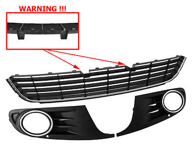 Vw Golf 6 Vi Mk6 08-13 Front Bumper Grille Grill Set 3 Pcs Highline Chrome Frame