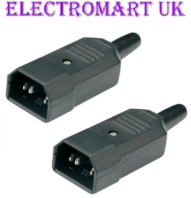 2 X Iec C14 Euro Mains Power In Line Plug Male 10A Amp Rated