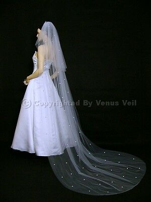 2T White Cathedral 30X108 with 100 Rhinestones Cut Edge Bridal Wedding Veil