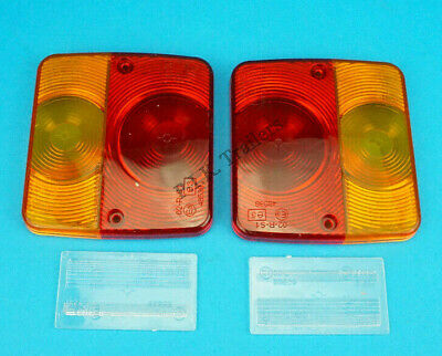 2 x Radex Replacement Lens for Small Rear Trailer Lamp with Number Plate Lens