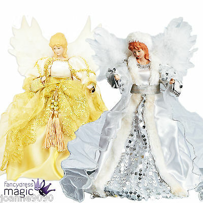 Deluxe Traditional Fairy Angel Christmas Xmas Tree Top Topper Decoration 30cm