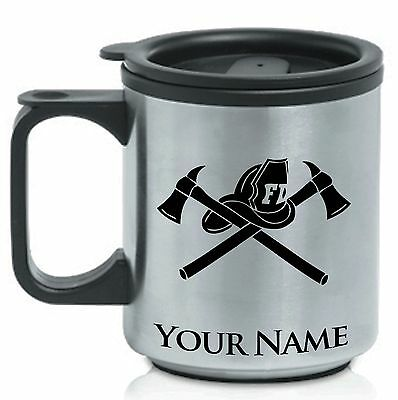 Personalized Stainless Steel Coffee Mug - FIREMAN HAT AND AX / FIREFIGHTER