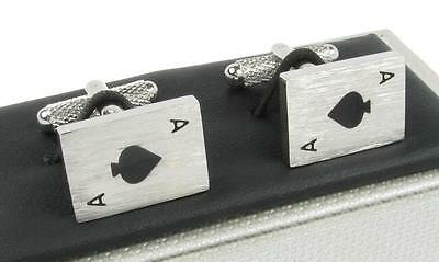 Ace of Spades Cufflinks - Aces Playing Card Cufflinks - Gift Boxed Cuff Links