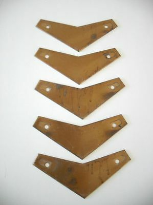 5 VINTAGE Bronze CHEVRON drawer pull BACKPLATES Cabinet Door