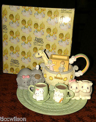 Precious Moments Noah's Ark mini tea set ENESCO in box 9 piece FREE SHIP USA!