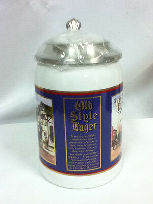 GV3 OLD STYLE BEER GLASS STEIN MUG LIMITED EDTION 1996 LIDDED BLUE HEILEMAN