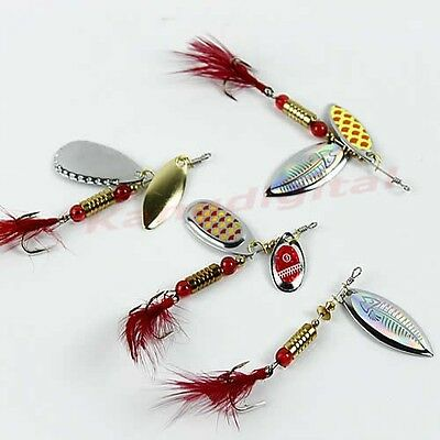 5pcs Sinking Lifelike Fishing Lure Paillette Treble Hook Spinner Bait Tackle