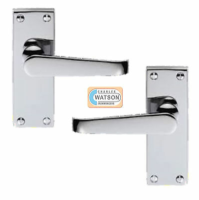 CARLISLE BRASS M31CP Polished Chrome Victorian Latch Door Handle on Back Plate