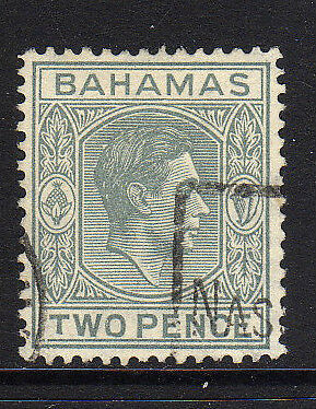 BAHAMAS 1938-52 2d PALE SLATE WITH SHORT 'T' SG 152a USED.