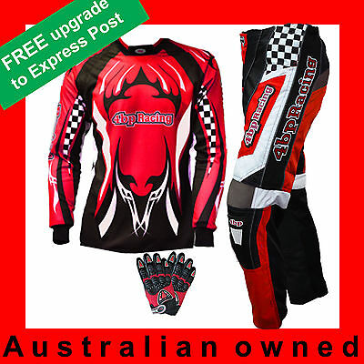 4BP Junior Motocross Pack - (Pants, Jersey, Gloves) Kids/youth Age 4-16 - Red