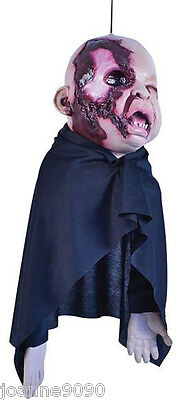 NEW HALLOWEEN SCARY HANGING ZOMBIE BABY RUBBER DECORATION FANCY DRESS PARTY PROP