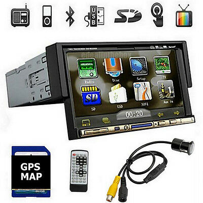 """Navigation GPS Bluetooth Receiver 7"""" Touch Screen DVD 1-Din + Rearview Camera"""