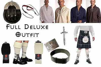 8 Yard Scottish Kilt Package, Complete Deluxe Casual Outfit, MacKenzie Tartan