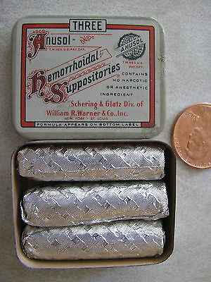 Vintage Anusol Hemorrhoidal Suppositories Physicians Sample Tin Full  of 3