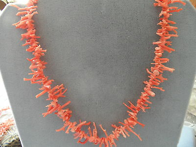 Gorgeous Vintage Natural Agel skin Branch Coral  Necklace 16""