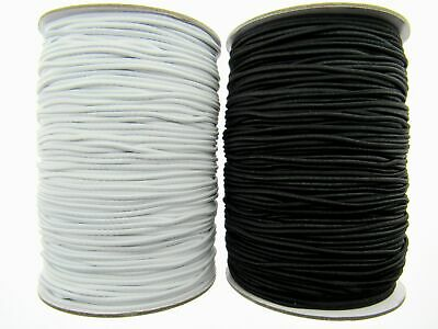 Round Cord Elastic / 1mm / 2mm / 3mm / Black or White - Best Quality UK Made