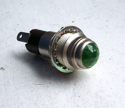 "Vintage GREEN cut lens dash gauge panel light Hot Rod Rat old 5/8"" rare DIALCO 5"