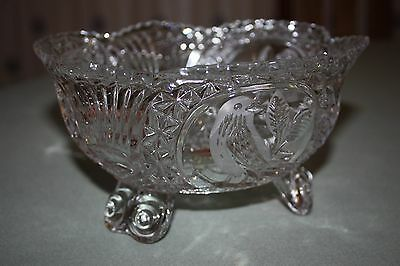 Vintage Echt Bleikristall 3 Footed Hand Cut Lead Crystal  Bird Bowl - W Germany