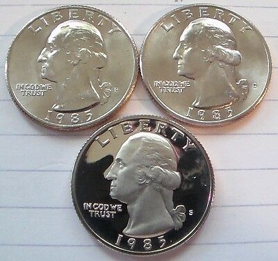1985-P,D&S  BU & Gem Proof Washington Quarters. Free Shipping.
