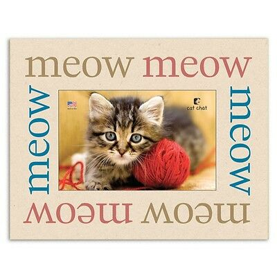 """Dog Speak Cat Lover Picture Frame - """"Meow Meow Meow"""" - Made in the USA"""