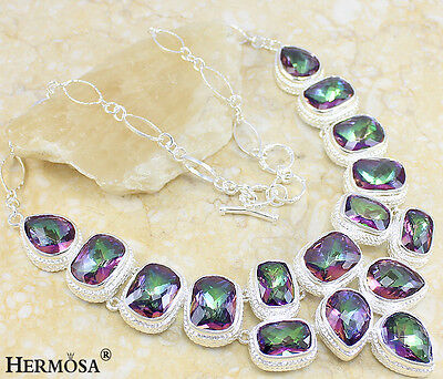 """New Amazing Huge! Rainbow Sparkle Mystical Topaz.925 Sterling Silve Necklace 20"""""""