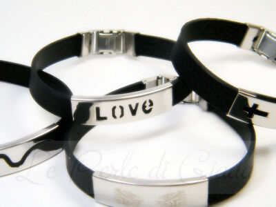 Bracciale TIGHT Caucciù Acciaio Stainless Steel Fashion Bracelet Rubber Logo