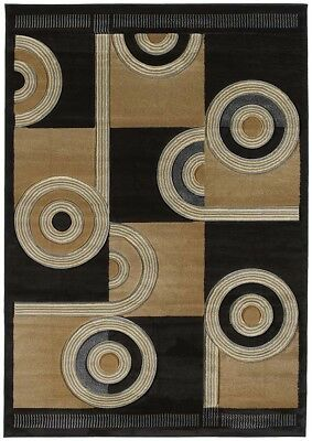 "HAND CARVED brown MODERN rings 2x8 area rug LINES runner: Actual Size 2'7""x7'4"""