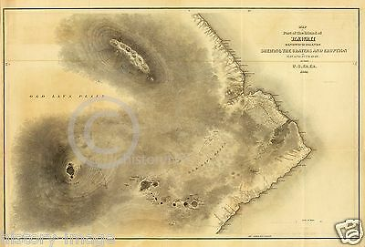 "1845 LARGE VOLCANO LAVA MAP HAWAII SANDWICH ISLANDS 36"" by 54"""