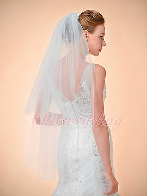 Classical 2T White/Ivory Fingertip Length Cut Edge Bridal Wedding Veil