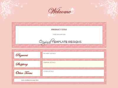 Boutique Shabby PINK LEAVES Chic Original Auction Template ~ OTD