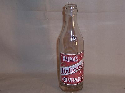 Vintage Baima's Beverage Bottle 7 oz Soda Pop Glass - Rare by Squirt Hurley WI