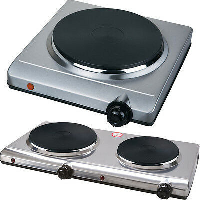 Double Single Hot Plate Table Top Portable Electric Twin Dual Hot Plate Silver