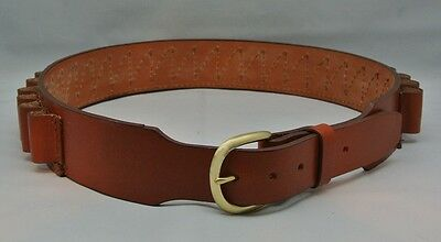 "LEATHER SHOTGUN SHELL AMMO BELT 25 LOOPS - 12 gauge - TAN NEW 34"" to 50"" sizes"