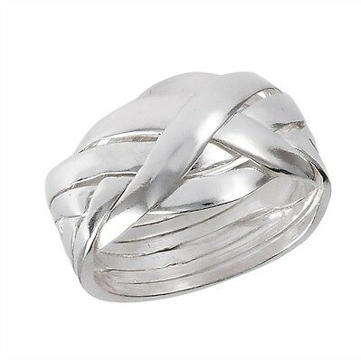 Braided Sterling Silver 6 Piece Puzzle Ring Size 5-12