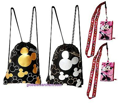 Disney Mickey Mouse Drawstrings Backpack  & Minnie Mouse Lanyards 4 pack