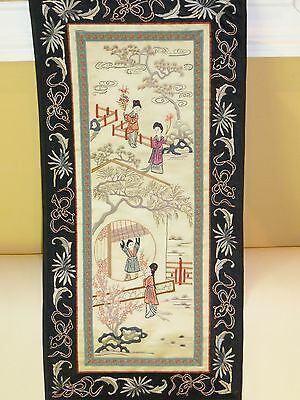 Antique Silk Chinese Embroidery Wall Hanging- STUNNING!